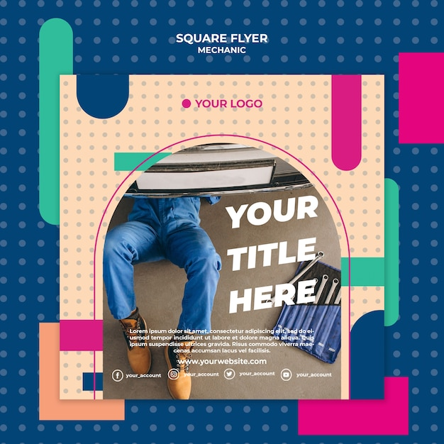Square flyer template for professional mechanic Free Psd