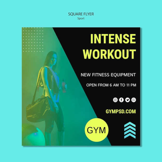 Square flyer template sport business Free Psd