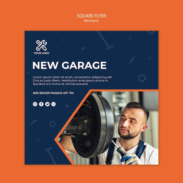 Square flyer template with mechanic at work Free Psd