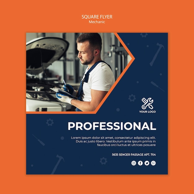 Square flyer with mechanic at work Free Psd