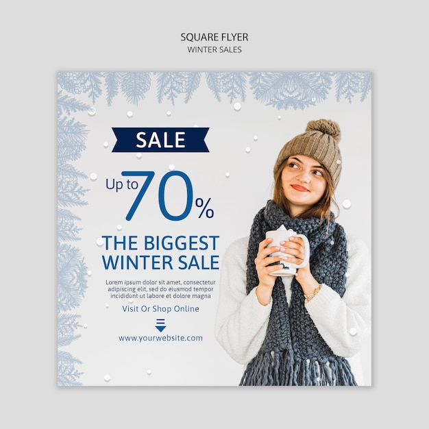 Square flyer with winter sales Free Psd