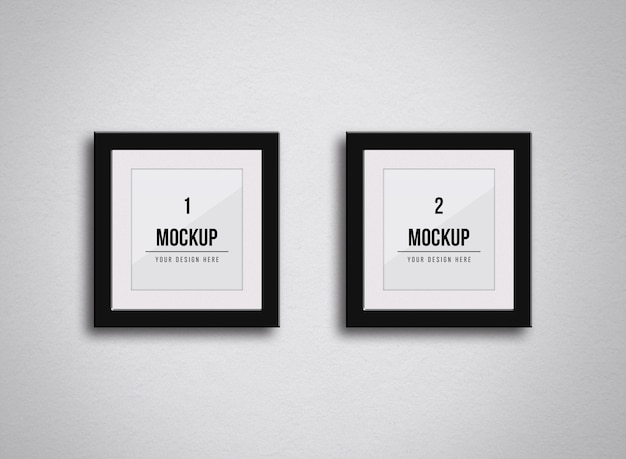 Square frames mockup on the wall Premium Psd
