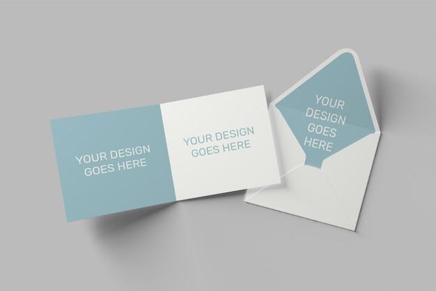 正方形の招待状とグリーティングカードのモックアップ Premium Psd