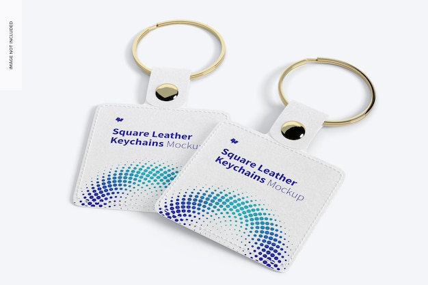 Square leather keychains mockup, perspective Premium Psd