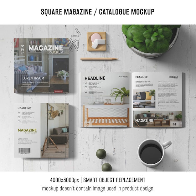 Square magazine or catalogue mockup concept Free Psd