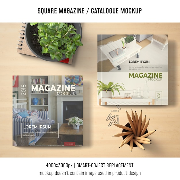 Square magazine or catalogue mockup covers Free Psd