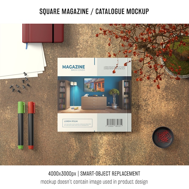 Square magazine or catalogue mockup from above Free Psd
