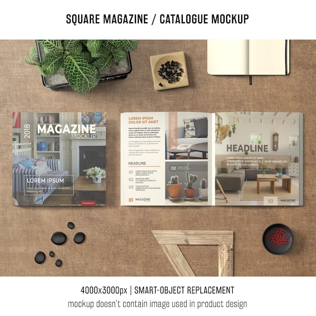 Square magazine or catalogue mockup in still life situation Free Psd