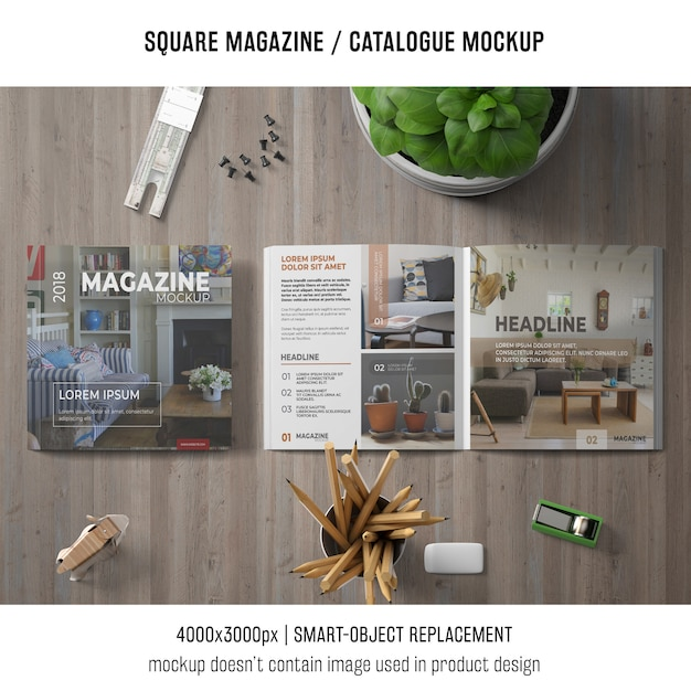 Square magazine or catalogue mockup on tabletop Free Psd