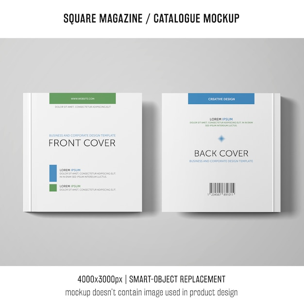 Square magazine or catalogue mockup of two Free Psd