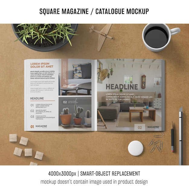 Square magazine or catalogue mockup with coffee and objects Free Psd