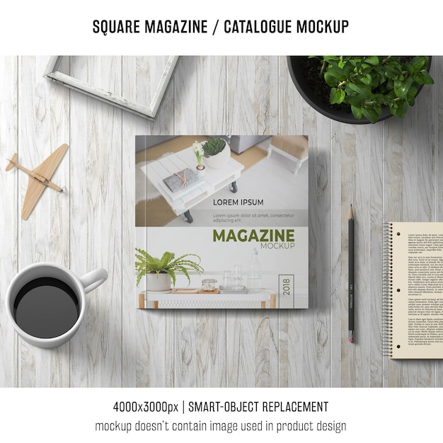 Square magazine or catalogue mockup with coffee Free Psd