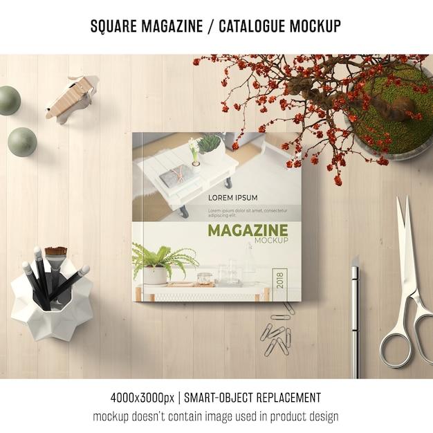 Square magazine or catalogue mockup with creative still life Free Psd