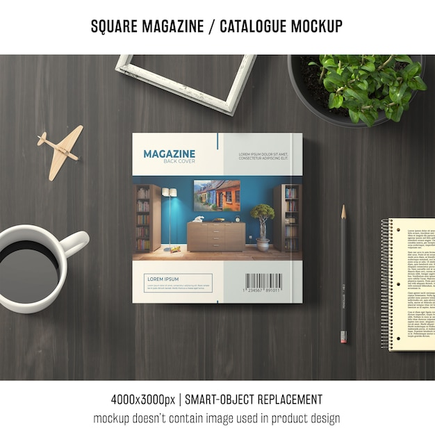 Square magazine or catalogue mockup with decorative still life Free Psd