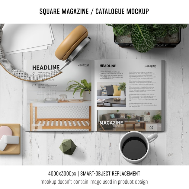 Square magazine or catalogue mockup with headphones and coffee Free Psd