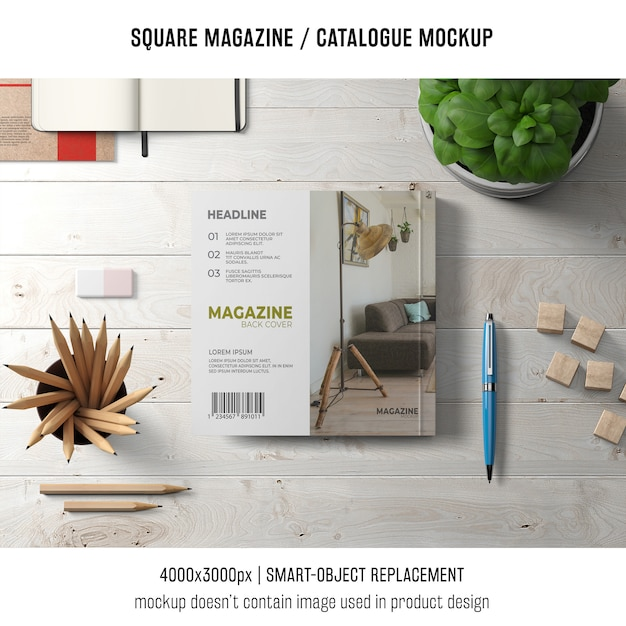 Square magazine or catalogue mockup with objects Free Psd