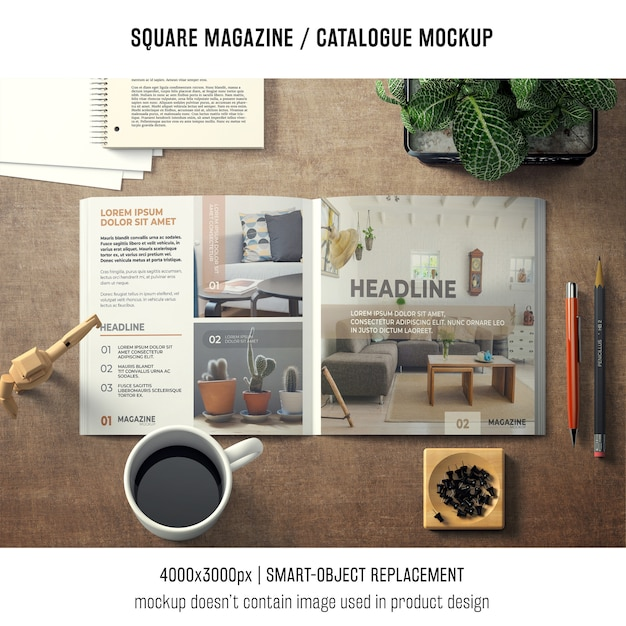Square magazine or catalogue mockup with various objects Free Psd