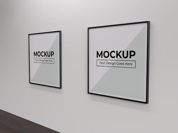 벽 실내 모형에 사각형 그림 사진 및 포스터 프레임 프리미엄 PSD 파일