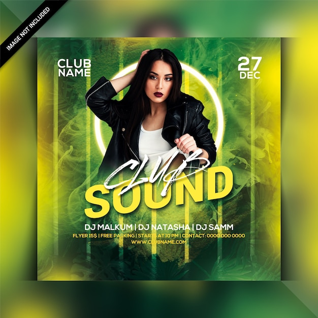 Square party flyer template