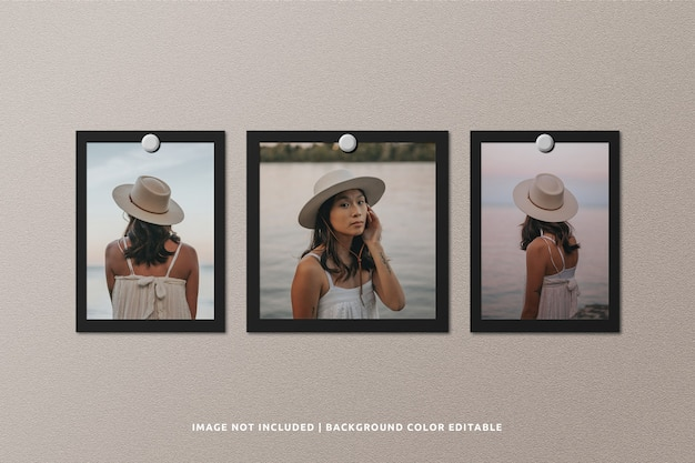 Square and portrait black paper photo frame mockup Premium Psd