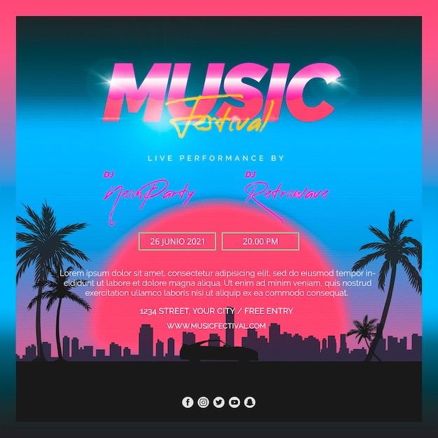 Square post template for 80s music festival Free Psd
