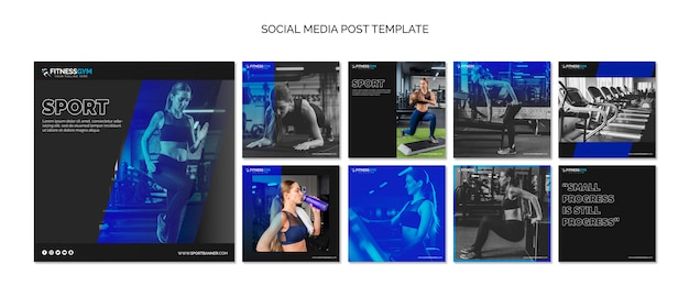 Square post template collection with fitness concept Free Psd