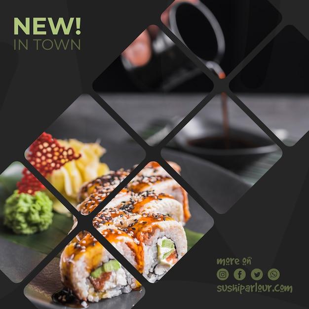 日本食レストランのスクエアポストテンプレート 無料 Psd