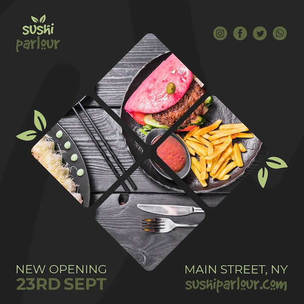Square post template for japanese restaurant Free Psd