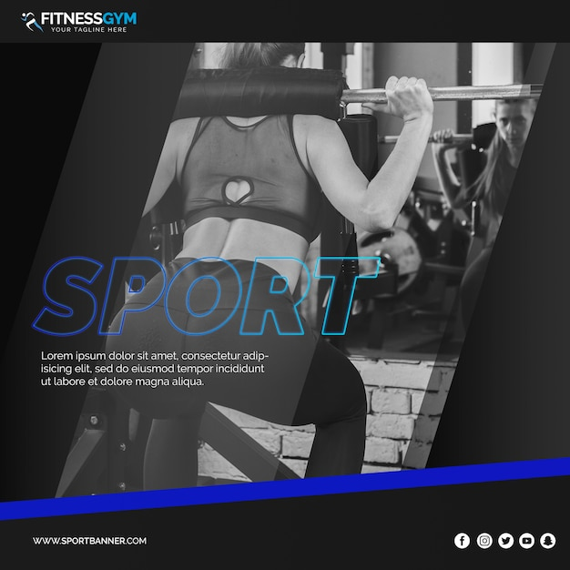 Square post template with fitness concept Free Psd