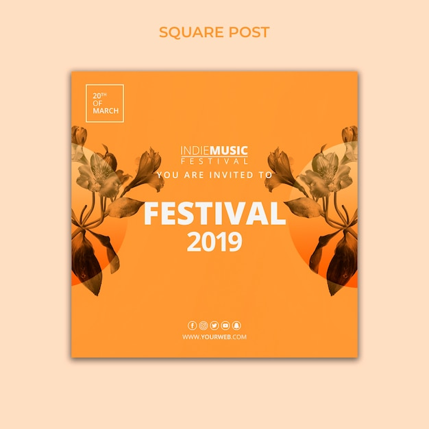 Square post template with spring festival concept Free Psd