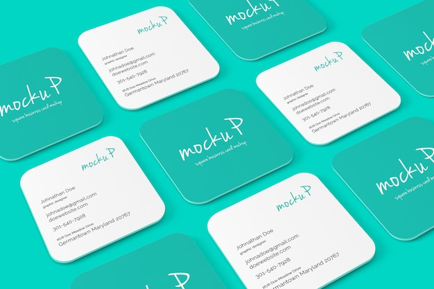 Square Round Corner Business Card Mockup Psd File Premium