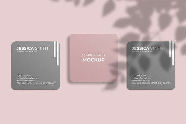 Square rounded corner business card mockup with leaf shadow Premium Psd