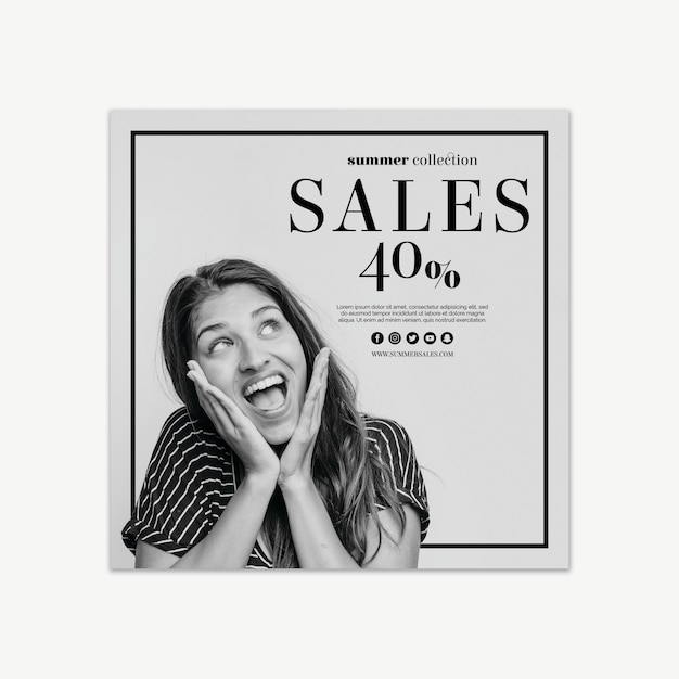 Square sales banner template Free Psd