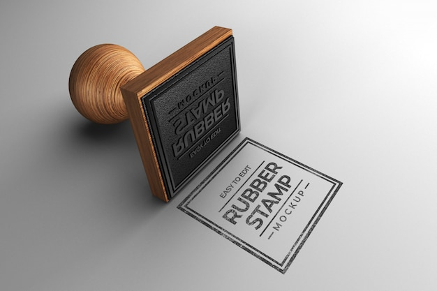 Square stamp mockup Premium Psd