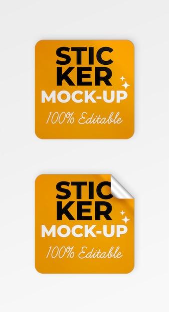정사각형 스티커 모형 무료 PSD 파일