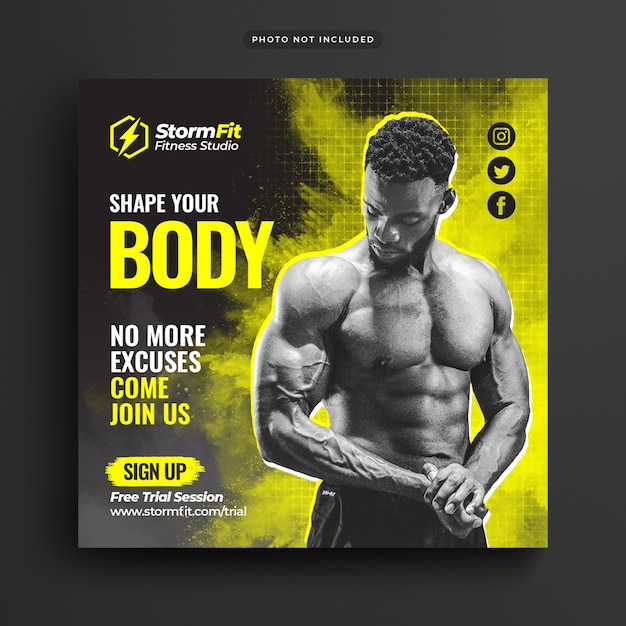 Square template of fitness gym advertising for social media post Premium Psd