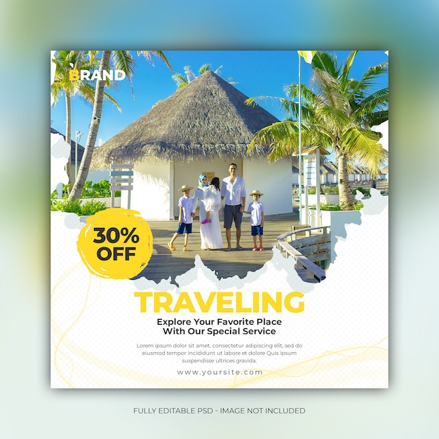 Square travel holiday for social media instagram post banner template Premium Psd