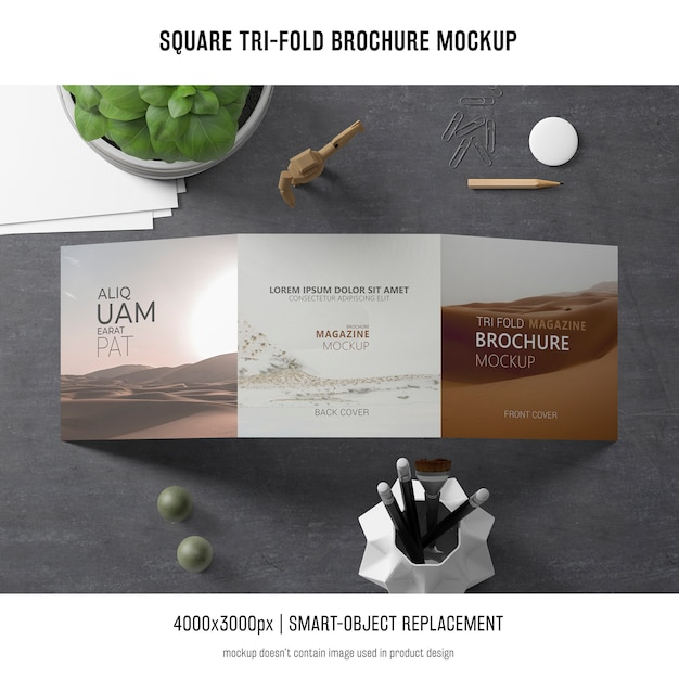 Square tri-fold brochure mockup Free Psd