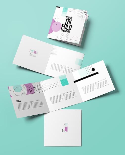 Изолированный квадратный макет брошюры Premium Psd
