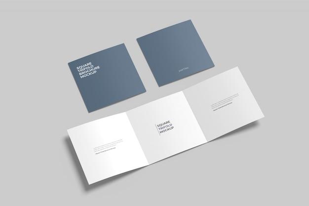 Квадратный тройной макет брошюры установлен высокий угол обзора Premium Psd