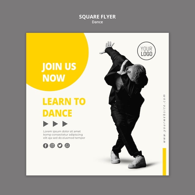 Squared flyer for dance lessons Free Psd