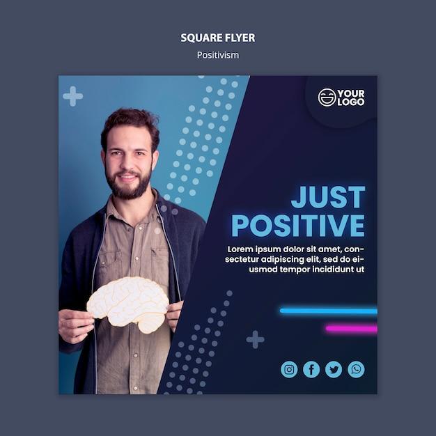 Флаер в квадрате для оптимизма и позитивизма Бесплатные Psd