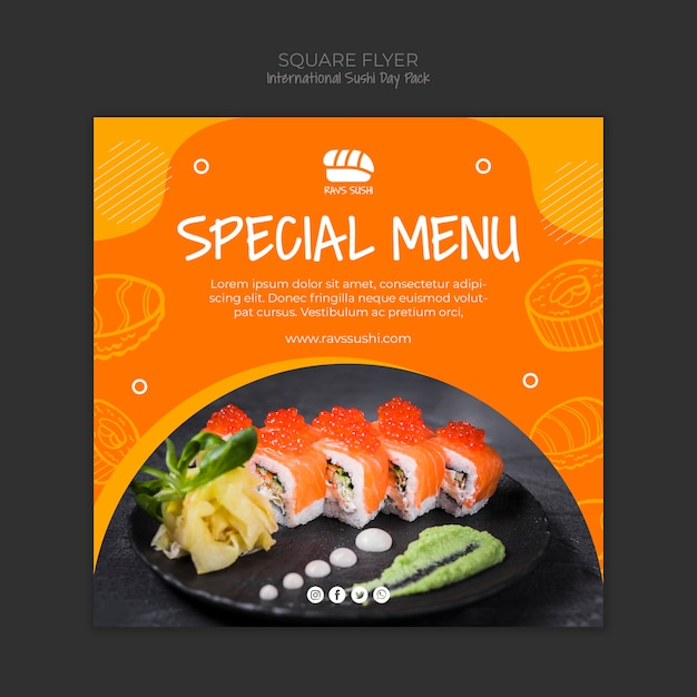 Squared flyer for sushi restaurant Free Psd