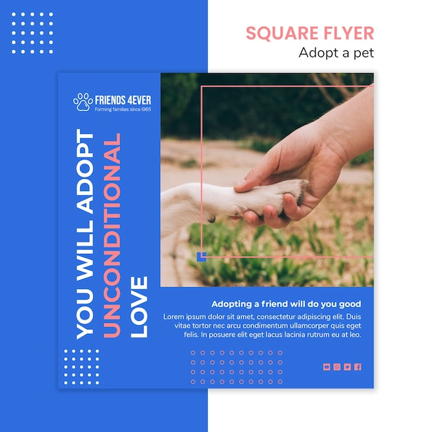 Squared flyer template for adopting a pet with dog paw Free Psd