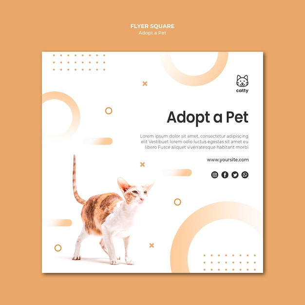 Squared flyer template for adopting a pet Free Psd