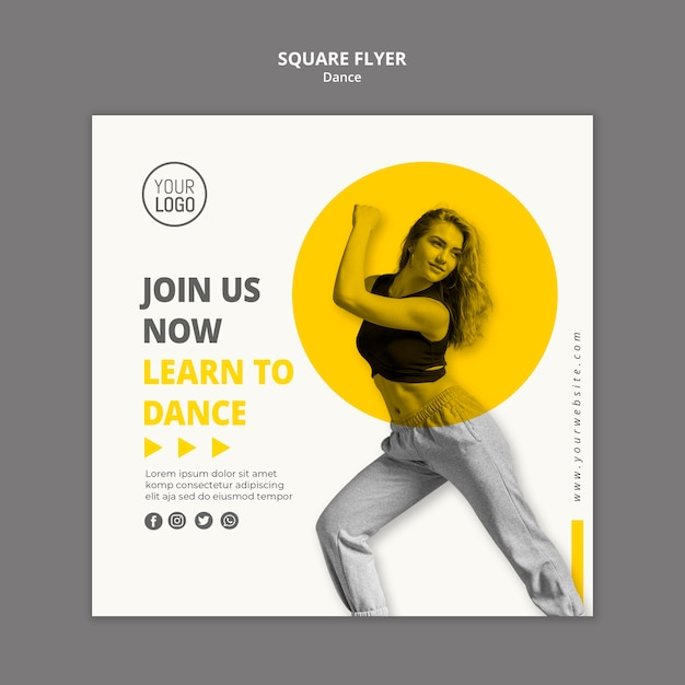 Squared flyer template for dance lessons Free Psd