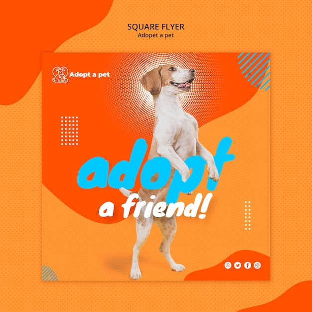 Squared flyer template for pet adoption from shelter Free Psd