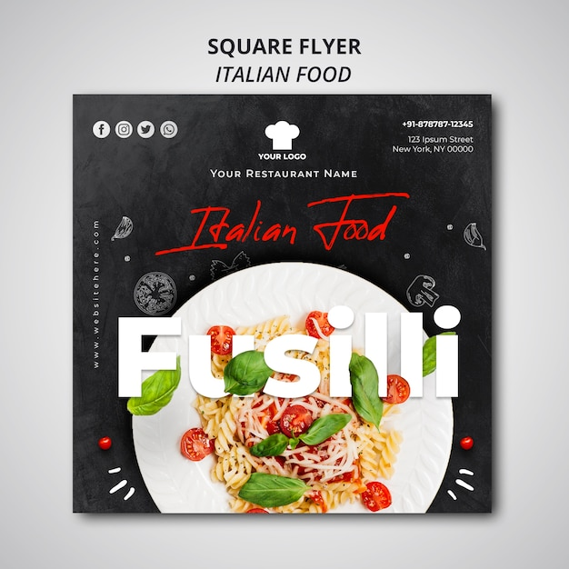 Squared flyer template for traditional italian food restaurant Free Psd
