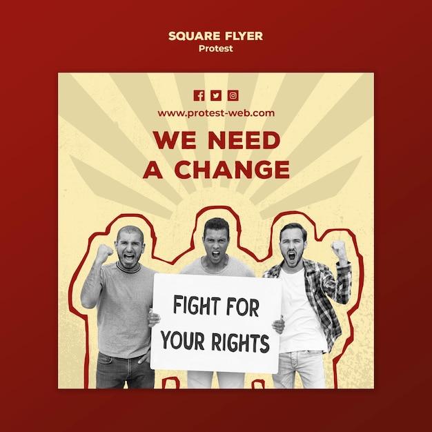 Шаблон флаера в квадрате с протестом за права человека Бесплатные Psd
