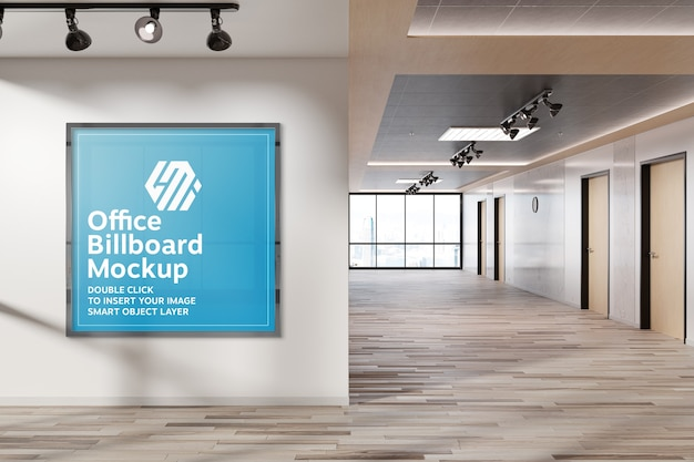 Squared frame hanging on office wall mockup